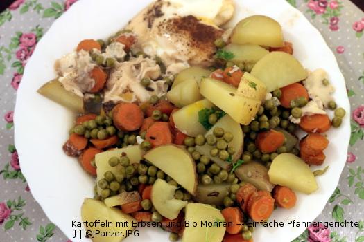 Kartoffeln, Erbsen und Bio Möhren — Pfannengerichte