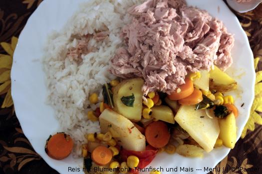 Reis mit Möhren, Thunfisch und Mais — Menü
