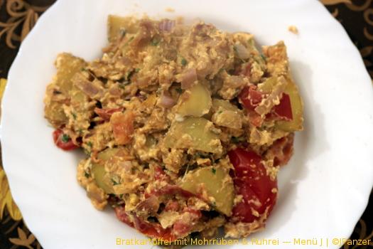 Bratkartoffel mit Mohrrüben & Rührei — Menü