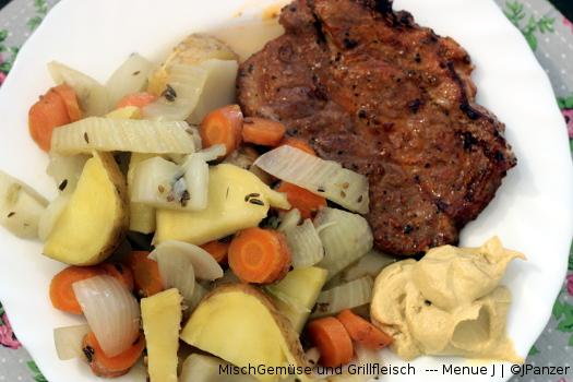 MischGemüse und Grillfleisch — Menü