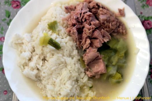 Porree-Suppe mit Reis und Thunfisch — Menü