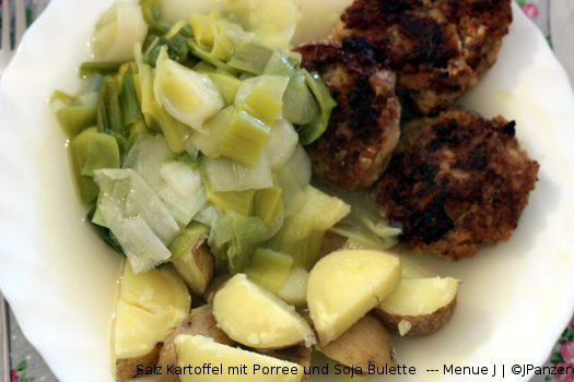 Salz Kartoffel mit Porree und Soja Bulette — Menü