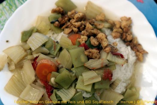 Fenchel Möhren Gemüse – BIO SojaFleisch  – Menü
