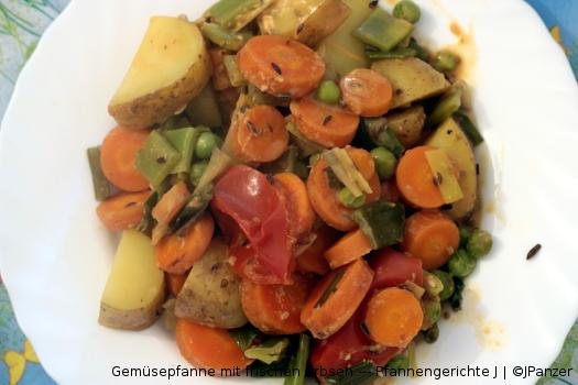 Gemüse Pfanne mit frischen Erbsen – Pfannengerichte