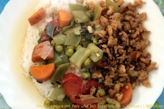 MischGemüse mit Reis und BIO SojaFleisch  — Menü
