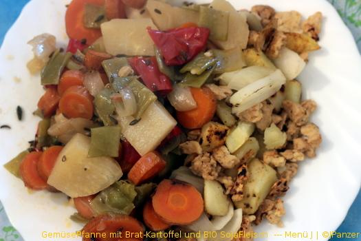 GemüsePfanne mit Brat-Kartoffel und BIO SojaFleisch