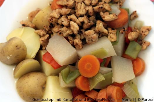 Gemüsetopf mit Kartoffel und BIO SojaFleisch  — Menü