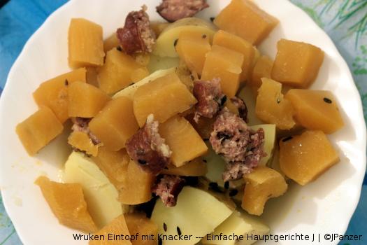 Wruken Eintopf mit Knacker — Einfache Hauptgerichte