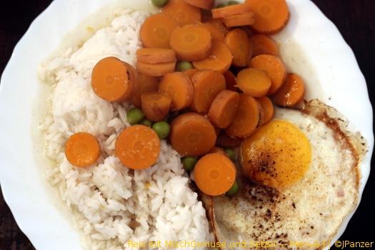 Reis mit MischGemüse und Setzei — Menü