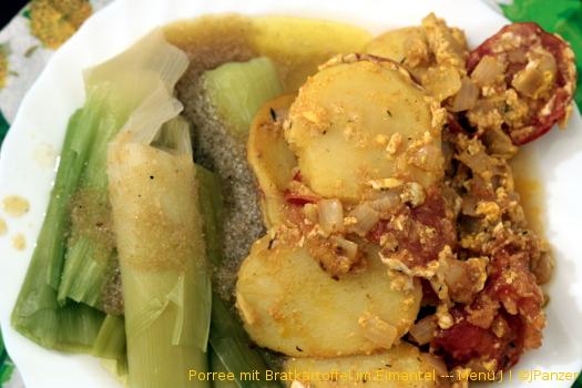 Porree mit Bratkartoffel im Eimantel — Menü