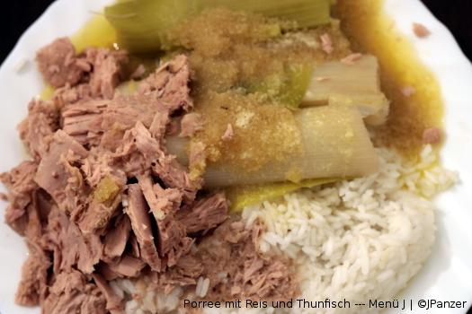 Porree mit Reis und Thunfisch — Menü