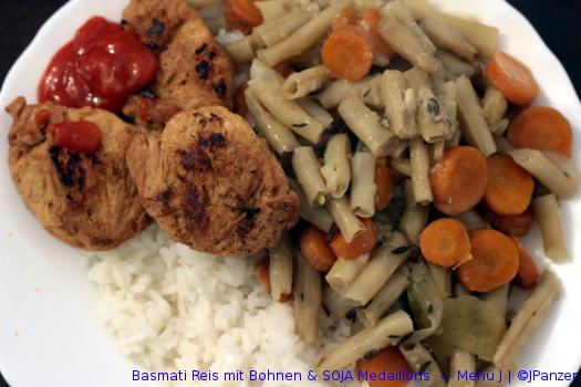 Basmati Reis mit Bohnen & SOJA Medaillons  — Menü