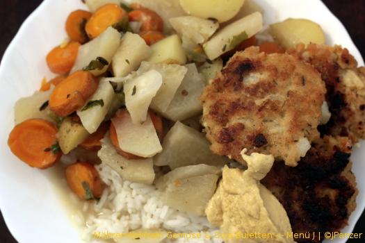 Möhren-Kohlrabi Gemüse & Soja Buletten — Menü