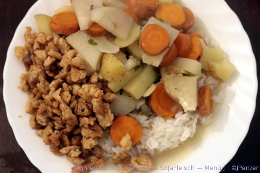 Möhren-Kohlrabi Gemüse & SojaFleisch — Menü