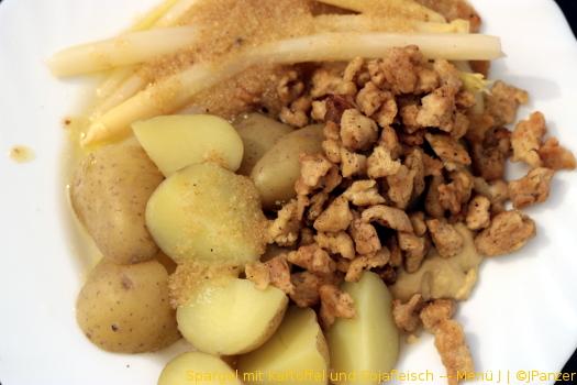 Spargel mit Kartoffel und Sojafleisch — Menü