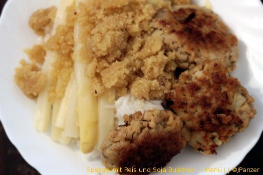 Spargel mit Reis und Soja Buletten — Menü