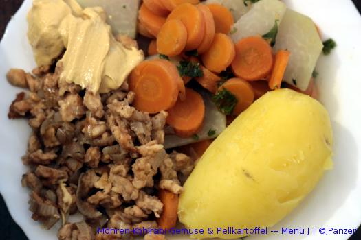 Möhren-Kohlrabi Gemüse & Pellkartoffel — Menü