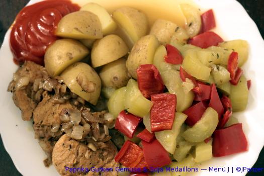 Paprika Gurken Gemüse & Soja Medaillons — Menü