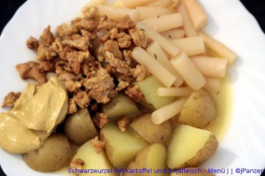 Schwarzwurzel mit Kartoffel und Sojafleisch