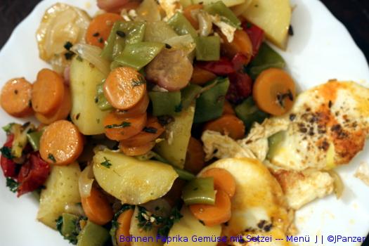 Bohnen Paprika Gemüse mit Setzei — Menü