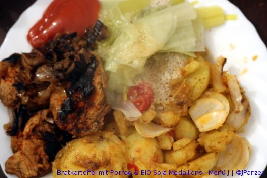 Bratkartoffel mit Porree & BIO Soja Medaillons – Menü