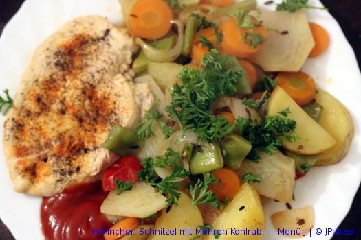 Hähnchen Schnitzel mit Möhren-Kohlrabi — Menü