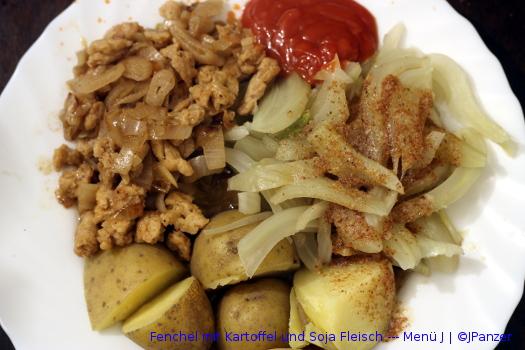 Fenchel mit Kartoffel und Soja Fleisch — Menü