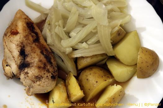 Fenchel-spalten mit Kartoffel und Hähnchen — Menü