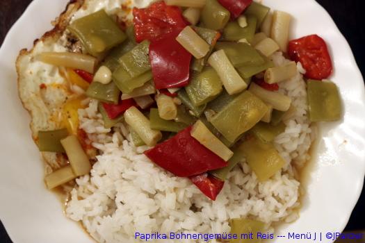 Paprika Bohnengemüse mit Reis — Menü