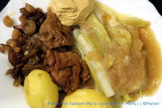Porree mit Salzkartoffel & SojaFleisch — Menü
