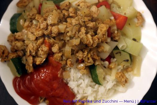 Reis mit Paprika und Zucchini — Menü