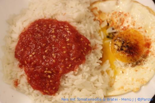 Reis mit Tomatensoße & Bratei – Menü