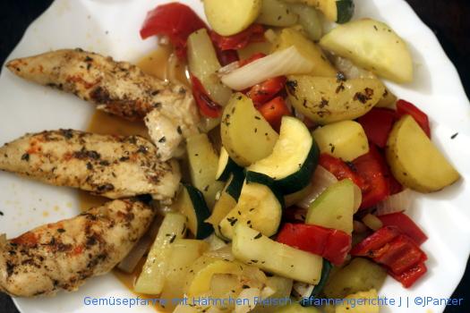 Gemüsepfanne & Hähnchen Fleisch – Pfannengerichte