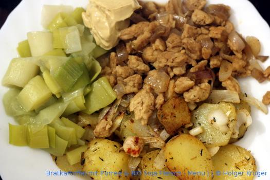 Bratkartoffel mit Porree & BIO Soja Fleisch – Menü