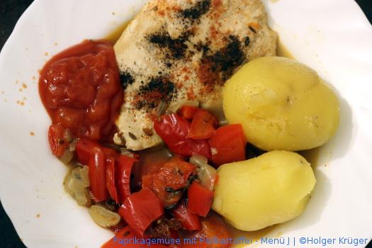 Paprikagemüse mit Pellkartoffel – Menü