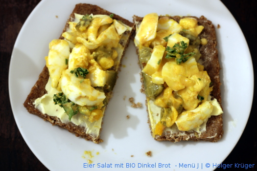Eier Salat mit BIO Dinkel Brot  – Menü
