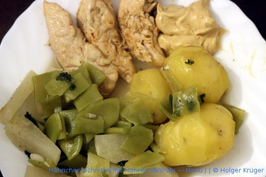 Hähnchen Spalten mit Bohnen-Kohlrabi – Menü