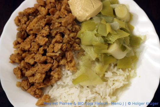 Reis mit Porree & BIO Soja Fleisch – Menü