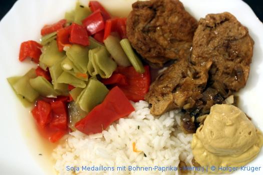 Soja Medaillons mit Bohnen-Paprika – Menü