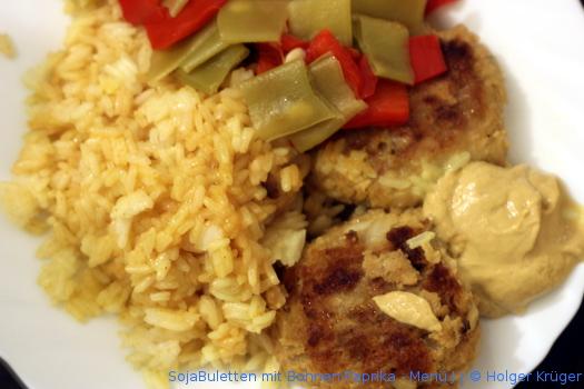 SojaBuletten mit Bohnen-Paprika – Menü