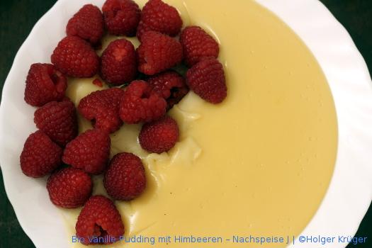 BIO Vanille Pudding mit Himbeeren – Nachspeise