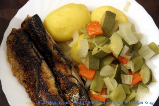 Brat – Hering mit Zucchini & Bohnen – Menü