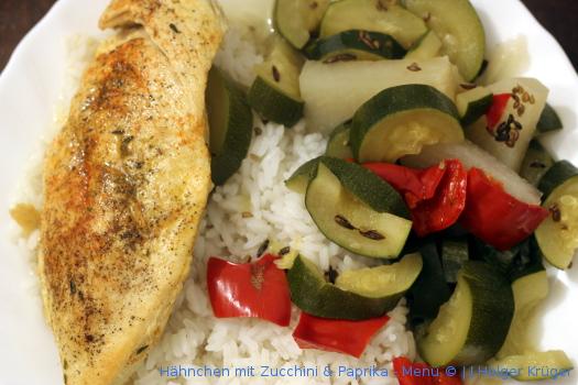 Hähnchen mit Zucchini & Paprika – Menü