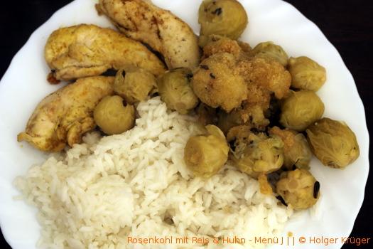 Rosenkohl mit Reis & Huhn – Menü