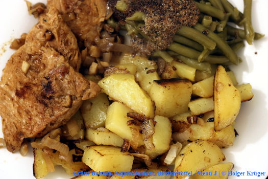 Grüne Bohnen, Sojamedaillons, Bratkartoffel – Menü