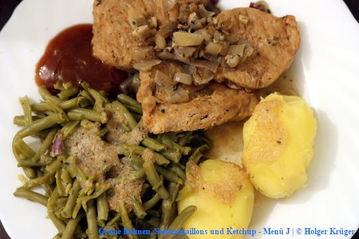Grüne Bohnen, Sojamedaillons und Ketchup – Menü