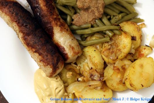 Grüne Bohnen mit Bratwurst und Senf – Menü