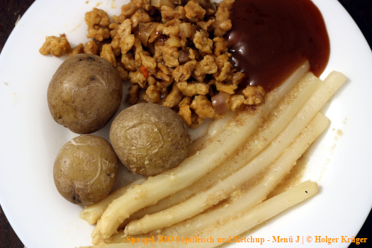 Spargel, BIO Sojafleisch und Ketchup – Menü