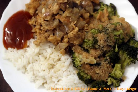 Brokkoli, Reis & BIO Soja Fleisch | J – Menü