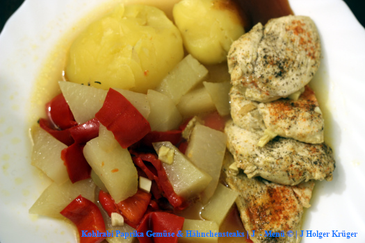 Kohlrabi Paprika Gemüse & Hähnchensteaks | J